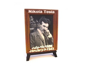 'Nicola Tesla' 3D Relief Micro-Painting / Large in Full Color Sandstone