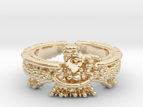 Farvahar Inspired Ring, Persian Art, Ring Size 7 in 14k Gold Plated