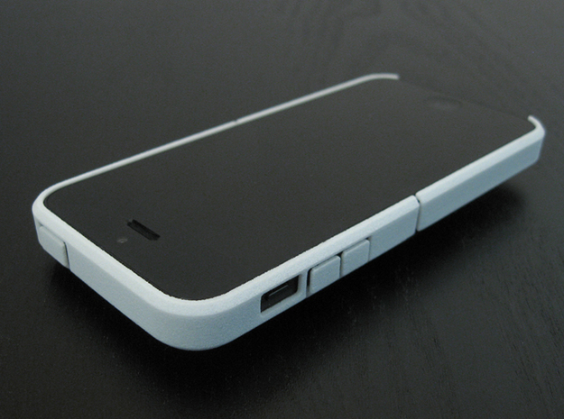 "Cariband case for iPhone 5/5s, ""holds stuff"" 3d printed White Strong & Flexible, Front and Top, left angle view"