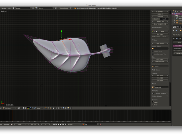 leaf pendant 3d printed The whole shape is subdivision surface with one CSG operation to make the hole