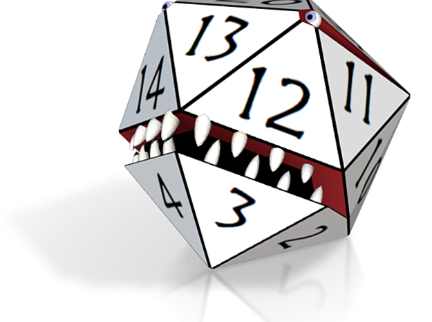D20 White Monster Figurine 3d printed