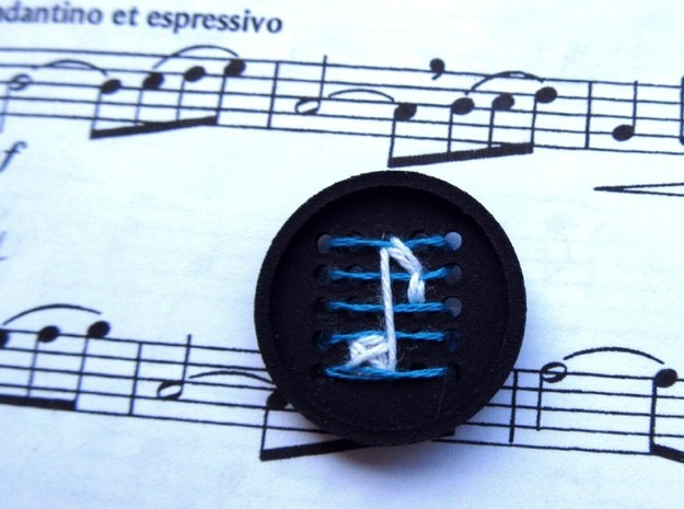 """1"""" embroidery buttons (dozen) 3d printed printed in black, embroidered with blue and white"""