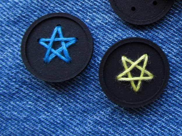 """1"""" five-holed buttons (two) 3d printed printed in black S+F"""