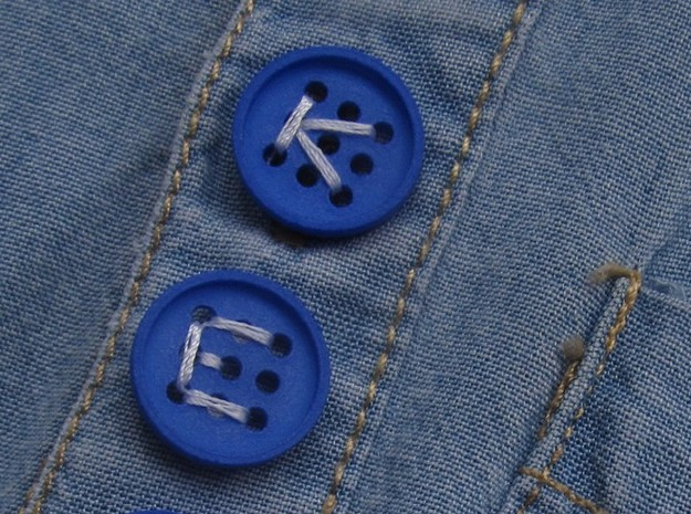 "5/8"" alphabet buttons (two) 3d printed printed in Royal Blue S+F"