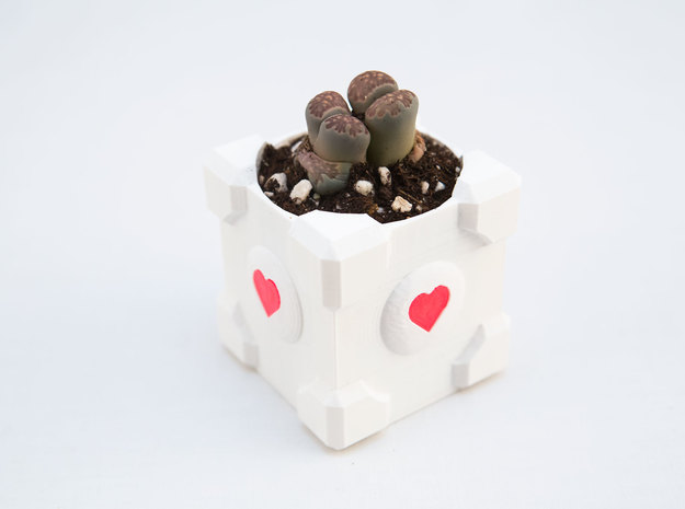 Companion Cube Planter 3d printed