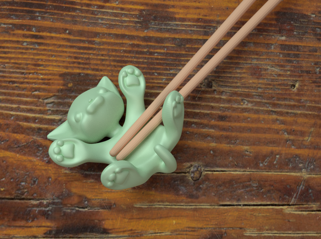 Flat Cat, Chopstick Holder (ceramic) 3d printed