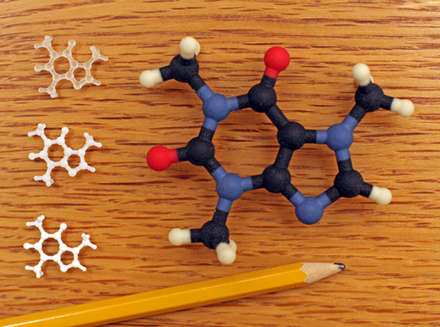 Caffeine molecule model 3d printed Cafeine molecule model, full color sandstone 3D print