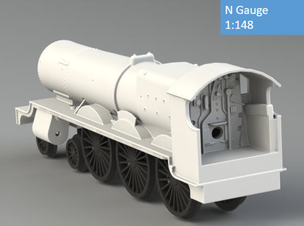 GWR Saint class locomotive, N Gauge 3d printed Rendering - back