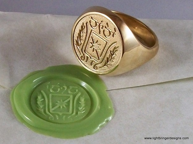 Custom Signet Ring 3d printed Signet ring with Elvish writing, a shield with starburst, flanked by two ferns in Polished Brass, impression in Light Green wax.