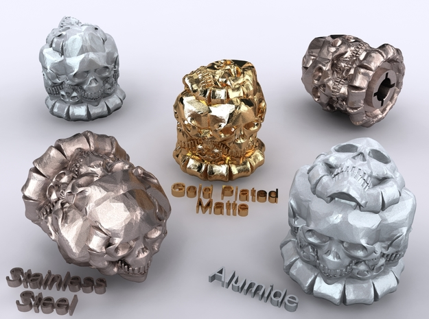 Skulls Knob 3d printed Alumide, Stainless Steel & Gold Plated Matte renders