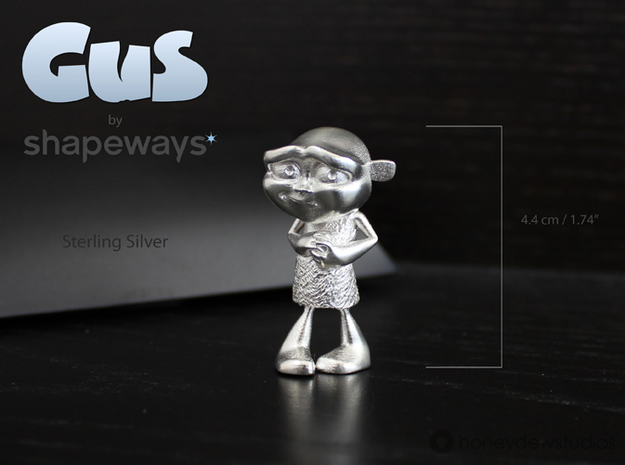 Gus Figurine - Small - Precious Metal 3d printed Choose your material option from the drop-down menu on the right.
