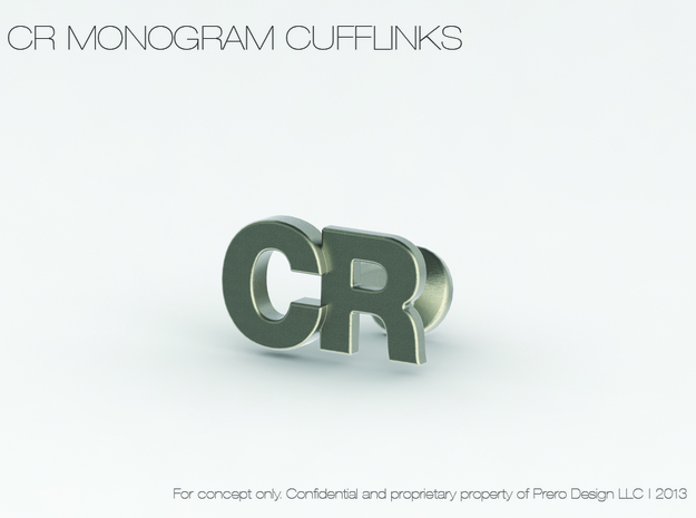 Monogram Cufflinks CR 3d printed