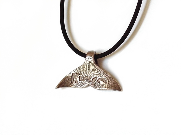 """""""Whale tail"""" pendant (cm 3 x 2 x 0.7) 3d printed Stainless Steel"""