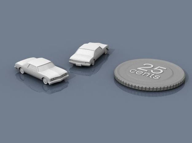 Luxobarge 3d printed Renders of the model, with a virtual quarter for scale.