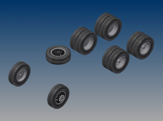 018001.1_Tires and rims for H0 dumptruck (1:87) 3d printed