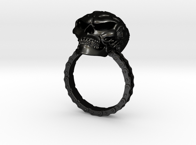 Women's Flaming Skull Ring With Roller Chain