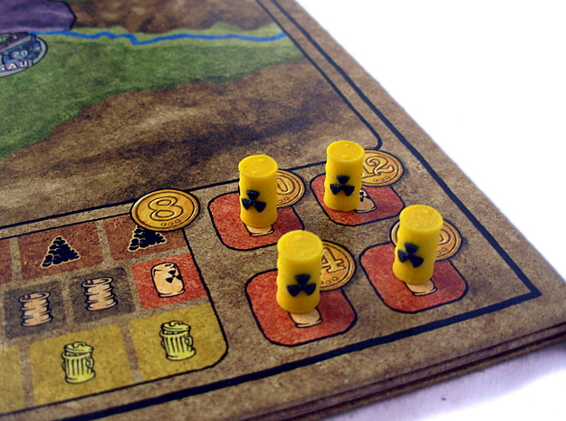 Power Grid Yellow Uranium Barrels, Set of 12 3d printed Uranium Barrels shown on Power Grid game board.
