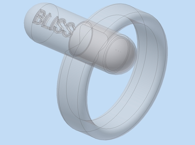 "Floating ""BLISS"" Pill Ring - Size 11.5 3d printed"