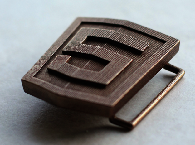 HTML5 Belt Buckle 3d printed Showing the loop on the back.