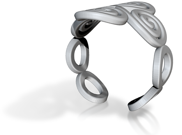 4 Spirals & Ovals Ring (Size 17) 3d printed