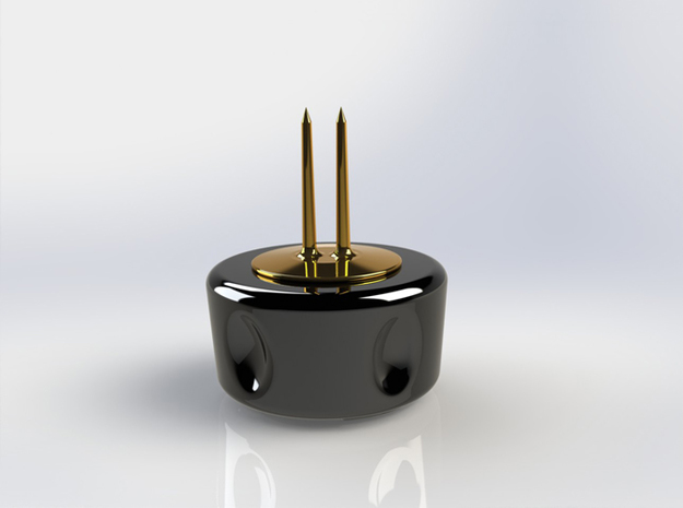 Corn Cob Holder- Base 3d printed Gloss Black Ceramic Base with Gold Plated Brass tines (render)