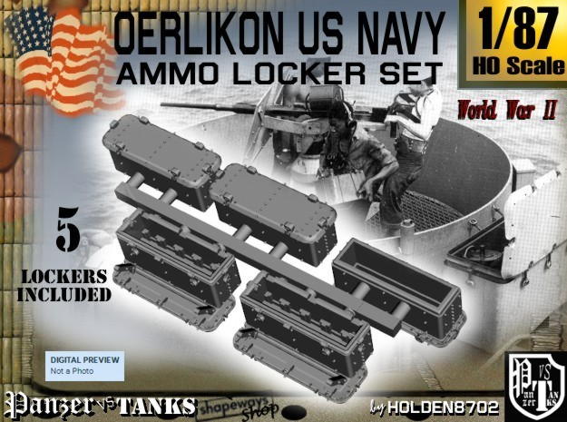 1-87 Oerlikon US Navy Ammo Locker SET