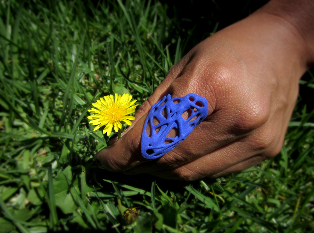 The Weave Ring 3d printed Printed in Royal Blue Strong & Flexible