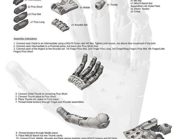 3D Printed Hand Left 3d printed Assembly instructions