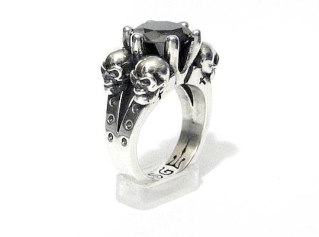 Kat Von D Engagement Ring Replica 3d printed 3ct round black diamond and aftermarket patina Not included