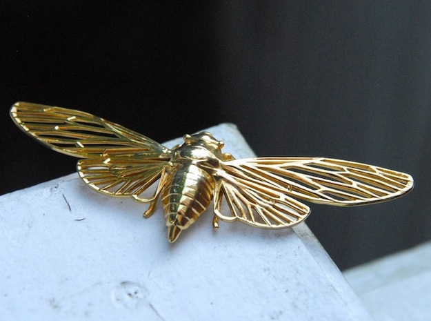 Cicada 3d printed material: gold-plated brass
