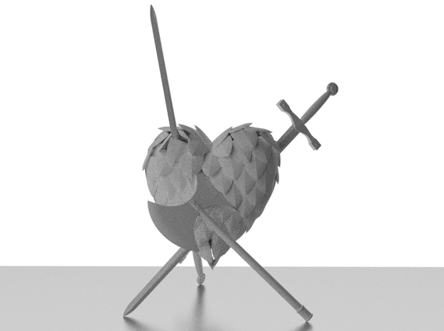 Defeated Heart 3d printed Back: Rendering