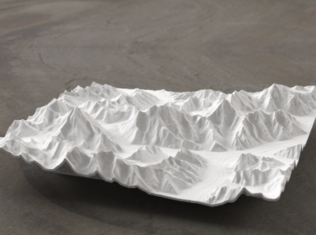 6''/15cm Baltoro Glacier and K2, WSF 3d printed Radiance rendering from the West, looking up the Baltoro to Gasherbrum IV