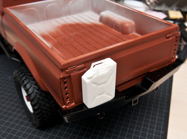 NATO 20L Jerry Can 1/10 Scale 3d printed White Strong Flexible printed version on bumper of RC truck.