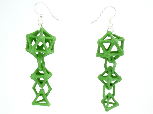 Platonic Progression Earrings - Bone 3d printed Earrings shown printed in green Strong and Flexible, finished with silver-plated fishhook earwires