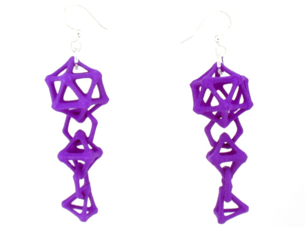 Platonic Progression Earrings - Bone 3d printed Earrings shown printed in purple Strong and Flexible, finished with silver-plated fishhook earwires