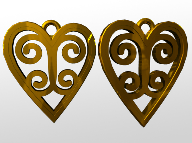 Ace Earrings - Hearts 3d printed rendered image