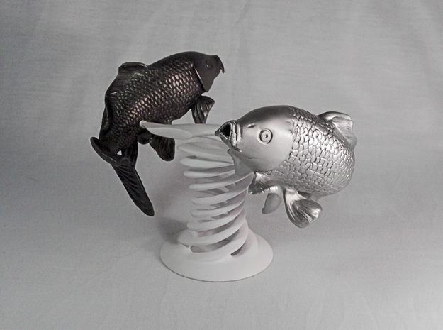 Yin Yang Koi: White Koi 3d printed White fish only, the black one and the holder are not included