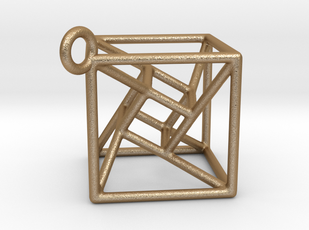 twisted Hypercube Pendant 3d printed