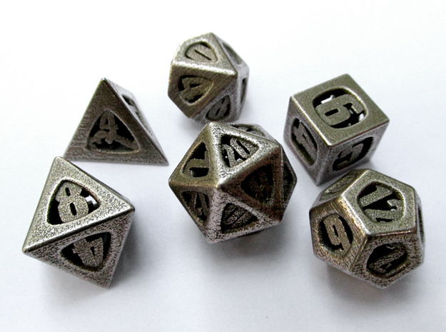 Thoroughly Modern Dice Set 3d printed In Stainless Steel