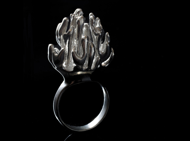 Laplacian Ring sz 7 3d printed polished silver