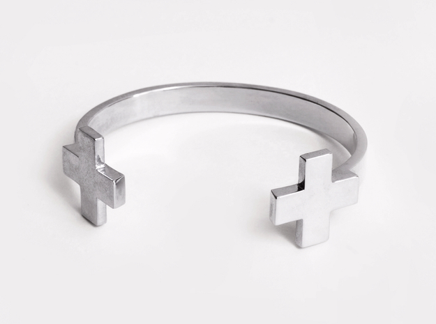 Double Plus Cuff 3d printed Polished Sterling Silver