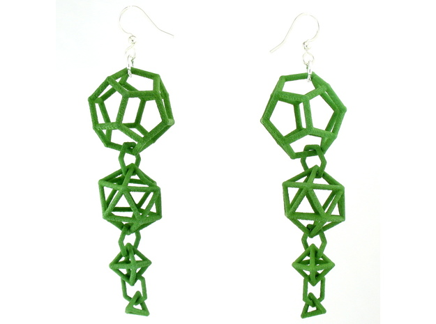 Platonic Progression Earrings - Clean 3d printed Earrings printed in Green Strong and Flexible, with earwires added