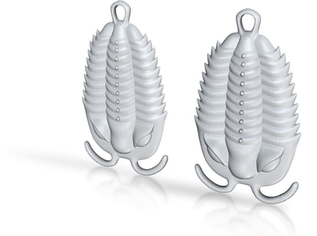 Trilobites Earrings 3d printed shapeways rendering