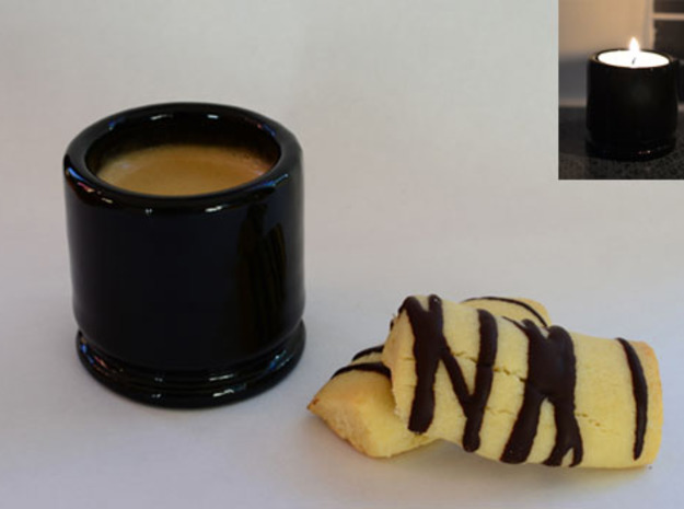 """Espresso cup and Tealight holder. """"M203 case"""" 3d printed Add a caption..."""