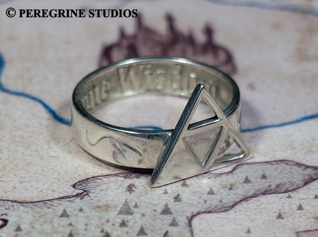 Ring - Triforce of Wisdom (Size 13) 3d printed Premium Silver
