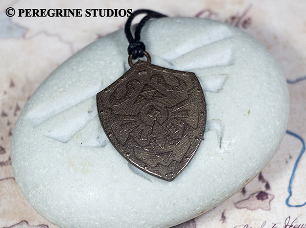 Pendant - Hylian Shield 3d printed Polished Bronze Steel