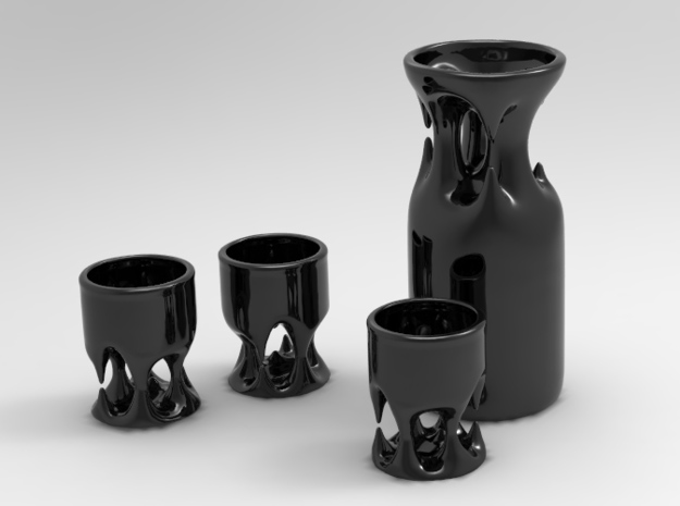 Cave Sake Bottle 3d printed