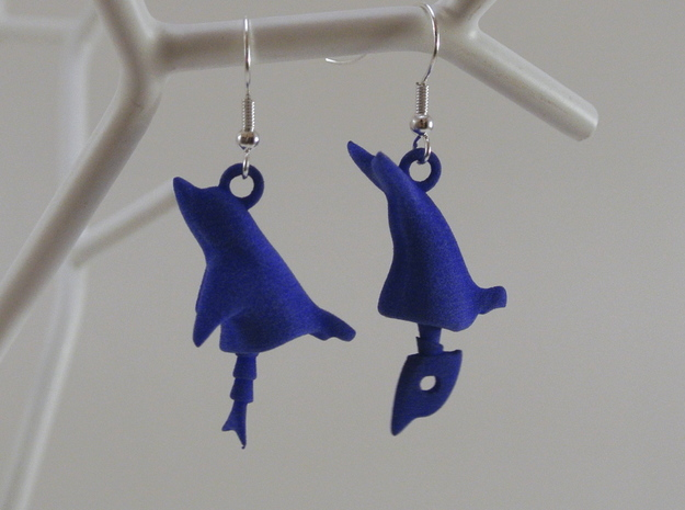 Dolphin Seraphinianus - Earrings 3d printed Royal Blue Strong & Flexible Polished