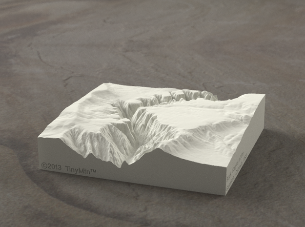 4'' Black Canyon of the Gunnison, CO, Sandstone 3d printed Radiance rendering of model, viewed from the West