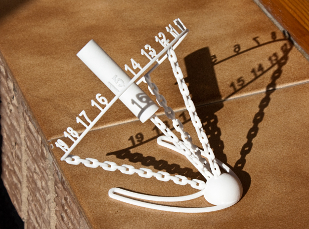 Chained Sundial 3d printed White Strong&Flexible
